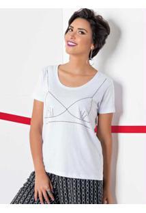 T-Shirt Com Estampa De Sutiã Branca