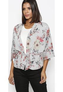 Kimono Listrado Floral- Branco & Rosamorena Rosa