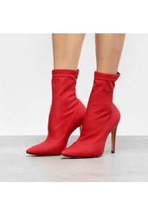 Bota Meia Cano Curto Luiza Barcelos Ecowear Feminina - Feminino-Vermelho
