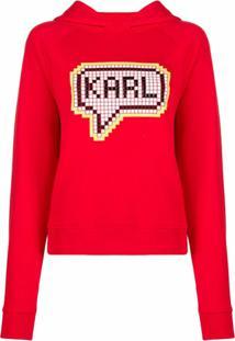 Karl Lagerfeld Blusa Karl Pixel Com Capuz - Vermelho