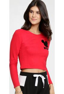 Blusa Feminina Cropped Canelada Mickey Disney