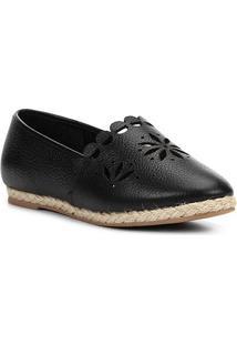 Sapatilha Couro Shoestock Espadrille Flat Flor Feminina - Feminino-Preto