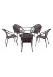 Conjunto Mesa Alta Sem Tampo E 5 Cadeiras Para Área Edicula Jardim Biquini Ferro E Fibra Pedra Ferro