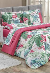 Edredom King Bia Enxovais Estampado Dupla Face 3 Peças Naturalle - Flamingo Pink