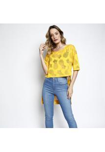... Camiseta Em Devorê Alongada- Amarela- Coca-Colacoca-Cola 0424740725d