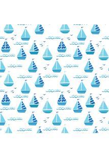 Papel De Parede Quartinhos Adesivo Texturizado Infantil Barquinhos 2,70X0,57M