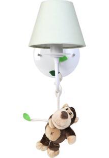 Arandela 1 Lâmpada Floresta Macaco Quarto Safári Infantil Potinho De Mel Verde - Kanui