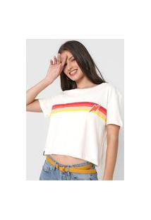 Camiseta Cropped Cantão Listras Vintage Off-White
