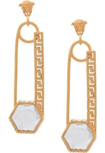 Versace Crystal Embellished Safety Pin Earrings - Dourado