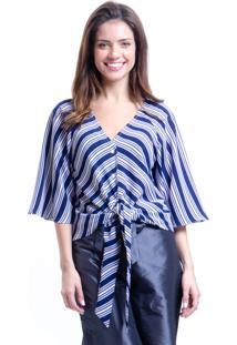 Blusa 101 Resort Wear Crepe Listrada Marinho De Amarrar Com Laço E Botoes