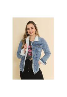 Jaqueta Jeans Forrada Alongada Leandra