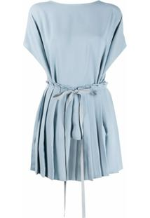 Mm6 Maison Margiela Blusa Plissada Com Amarração Na Cintura - Azul