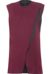 Colete Feminino Wool Double - Vermelho E Preto