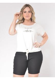 T-Shirt Plus Size De Nozinho: Off White: 46