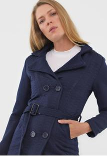Casaco Amber Recortes Texturizado Azul-Marinho - Tricae