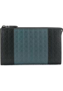 Salvatore Ferragamo Bolsa Clutch Color Block 'Gancini' - Preto