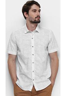 Camisa Manga Curta Aleatory Fio Xadrez Folhagens Masculina - Masculino-Branco