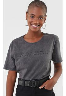 Camiseta Enfim Lettering Grafite - Kanui