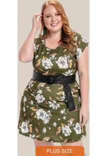 Vestido Plus Size Com Decote Redondo Verde