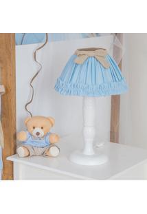 Abajur Urso Coroa Real - Maria Lua Baby - Branco / Azul / Caqui