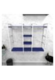 Estante Industrial Escritório Aço Cor Branco 120X30X98Cm (C)X(L)X(A) Cor Mdf Azul Modelo Ind47Azes