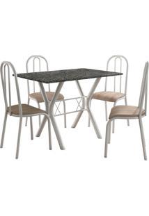 Conjunto De Mesa Miami 4 Cadeiras Branco/Nature Fabone Móveis Tubulares