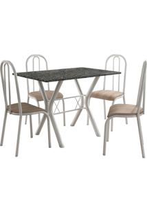 Conjunto De Mesa Miami 4 Cadeiras Branco/Nature Fabone