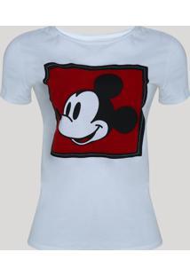 Blusa Feminina Mickey Mouse Manga Curta Decote Redondo Off White