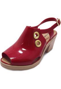 Sandália Boot Sola Baixa Miss Miss Vermelho
