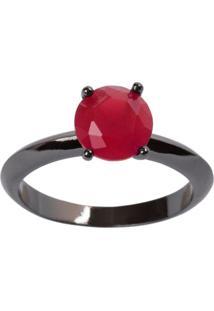 Anel Solitário The Ring Boutique Pedra Cristal Vermelho Rubi Ródio Negro