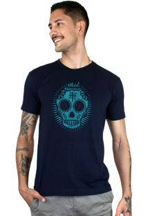 Camiseta Bleed American Sugar Skull Marinho