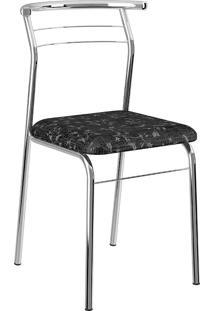 Cadeira 1708 Cromado/Tecil - Móveis Carraro - Fantasia Preto