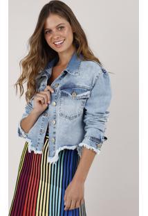 Jaqueta Jeans Feminina Blueman Cropped Com Estampa De Coqueiro Azul Claro