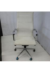 Cadeira Office Outlet Telinha Alta Branca Cromada - 1 - Sun House