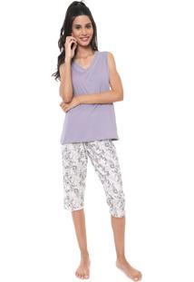 Pijama Pzama Coruja Lilás/Off-White