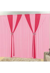 Cortina Dourados Enxovais Rafaela Rosa/Pink 3,00M X 2,80M