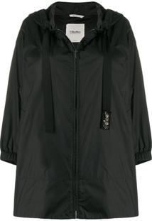 'S Max Mara Hooded Rain Jacket - Preto