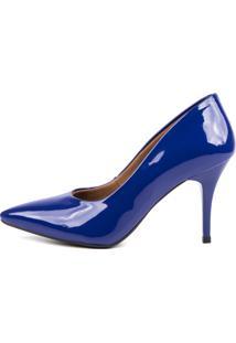 Scarpin Factor Salto Mã©Dio - Verniz Azul Klein - Azul Marinho - Feminino - Dafiti