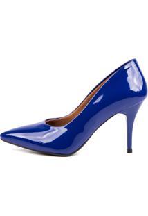 Scarpin Factor Salto Médio - Verniz Azul Klein