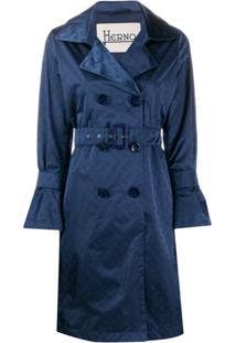 Herno Trench Coat De Cetim Monogramado - Azul