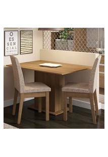 Conjunto Sala De Jantar Madesa Beca Mesa Tampo De Madeira Com 2 Cadeiras Marrom