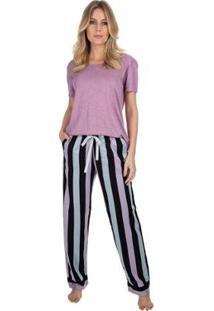 Pijama Com Bolso E Manga Curta Listrado Feminino - Feminino