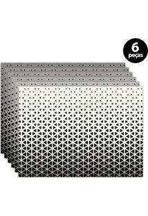 Jogo Americano Mdecore Geométrico 40X28Cm Branco 6Pçs