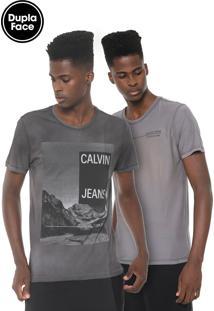 Camiseta Calvin Klein Jeans Dupla Face Grafite