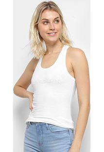 Regata Calvin Klein Logo Feminina - Feminino-Off White