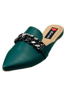 Sapatilha Bico Fino Love Shoes Mule Confort Detalhes Correntes Verde Escuro