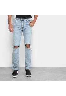 Calça Jeans Reta Destoryed Acostamento Masculina - Masculino