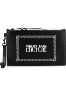 Versace Jeans Couture Clutch Com Estampa De Logo - Preto