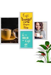 Kit Conjunto 4 Quadro Oppen House S Frases Com Café Quente Sempre Bom Lojas Cafeteria Xícaras Grãos Moldura Branca Decorativo Interiores Sem Vidro