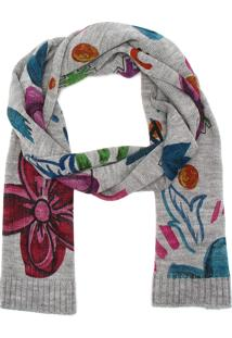 Cachecol Desigual Tricot Flowers Cinza